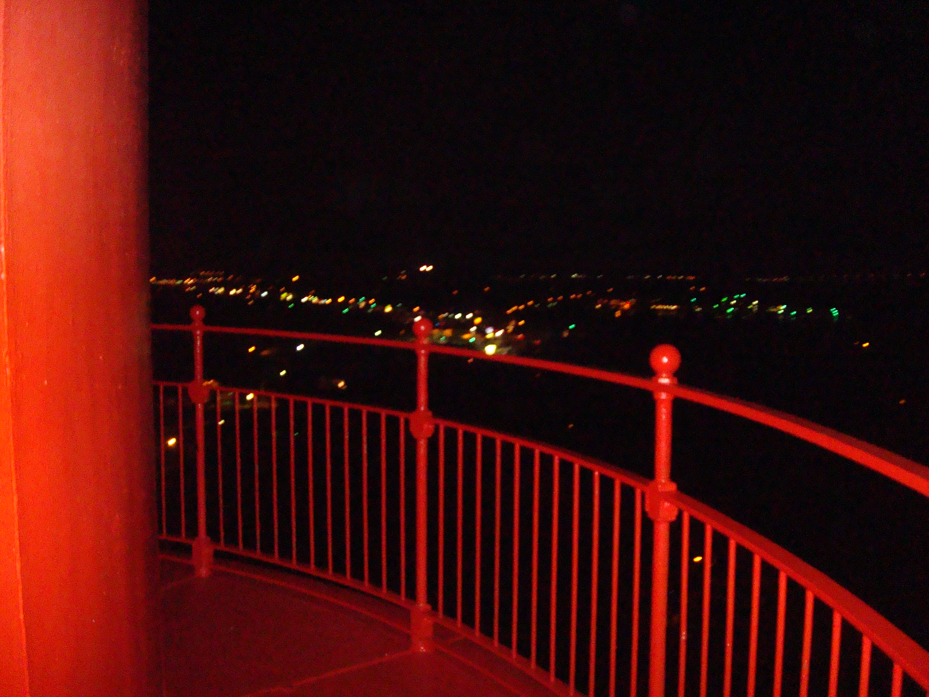 Nightime view from lighthouse tower